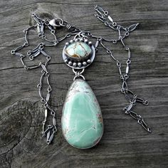 Green Variscite Necklace .... sterling silver dangle oxidized bar link chain…