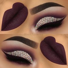 Dark purple glitter cutcrease makeup with liquid lipstick eyeliner. Liquid Lipstick Lime Crime Velvetine Raven http://www.instagram.com/beautypalmira #makeupideasforhomecoming