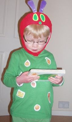 Childrens Very Hungry Caterpillar Costume Set Antenna Face Paint Kit Book Day