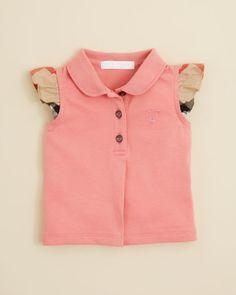 Burberry Girls' Tia Check Sleeve Top - Sizes 2-3