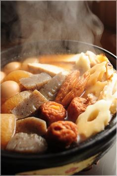 Oden - おでん - is a Japanese winter dish consisting of several ingredients such as boiled eggs, daikon radish, konnyaku, and processed fish cakes stewed in a light, soy-flavoured dashi broth. S)