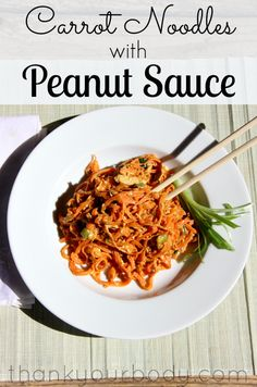 Have you tried vegetable noodles? These carrot noodles with peanut sauce will win you over! Delicious, healthy, and filling...and easy to make, too!
