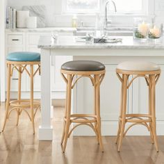 Natural bent wood stools tend to split or break down with age. Bar stools designed to be stronger, often aren't the most stylish. Problems solved, in beautiful fashion, and only available at Grandin Road. Sitting is believing. Leather Bar Stools, Swivel Bar Stools, Island Stools, Outdoor Bar Stools, Designer Bar Stools, Kitchen Stools, Dining Stools, Kitchen Dining, Dining Room