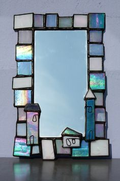 Big + Little Houses - Glass Art-waves with sailboat