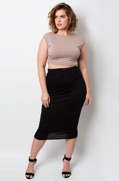 Rebdolls Light Weight Bodycon Midi Skirt
