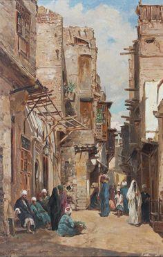 Street Scene Cairo 1881 Art Print by Varley II John. Carl Spitzweg, Arabian Art, Building Painting, Old Egypt, Arabian Nights, Egyptian Art, Arabesque, Ancient Civilizations, Islamic Art
