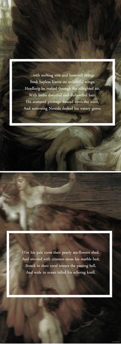 Icarus, son of Daedalus: Who dared to fly too near the sun on wings of feathers and wax. #myth