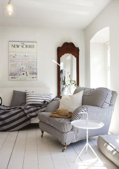 Modern Country Style: The Howard Sofa: A Modern Country Classic Click through for details. Howard Sofa, Striped Chair, Striped Furniture, Sweet Home, Living Spaces, Living Room, Cozy Living, Coastal Living, Piece A Vivre