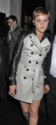 Emma Watson in a Burberry coat - which i want so badly