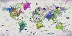 Bambini mondo mappa canvas Animale mondo mappa arredamento   Etsy World Map Decor, World Map Art, World Map Canvas, Vintage Map Decor, Kids World Map, Nursery World, Nursery Wall Decor, Eco Friendly, Free Shipping