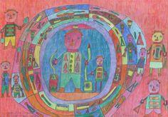 Michael Hall: «Sorgenzähler Jürgen v. d. Lippe – guten Morgen, liebe Sorgen» 2007 (Außen die Eltern und zwei Kinder. In der Mitte Jürgen v. d. Lippe und ein Kind, umgeben von einem Rad, das wohl das Lebensrad symbolisiert und an das buddhistische Samsara erinnert.)