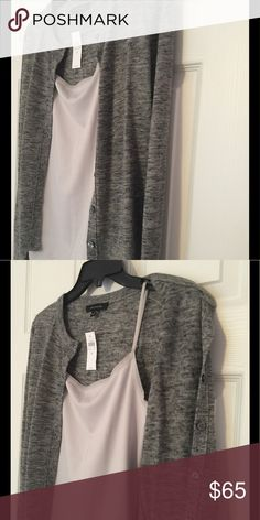 Heather gray cardigan and light gray cami Heather gray cardigan with a matching light gray stretch cami to match! Cami has pretty trim at the neck.  New and never worn. Ann Taylor Sweaters Cardigans