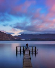 Sunrise in Te Anau  The good thing about sleeping in a van is that you can easily wake up to amazing and serene places.