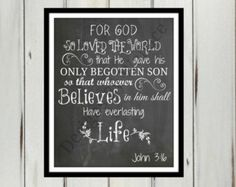 John 3:16 Chalkboard Printable, Digital Download Chalkboard 8x10, Christian Digital Download, Chalkboard Home Decor