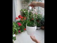 How to hang a flower pot with a rope - comment accrocher un pot de fleur avec une corde - YouTube