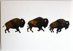 Bison Run  Watercolor Painting  Large Archival Print  by RiverLuna, $20.00