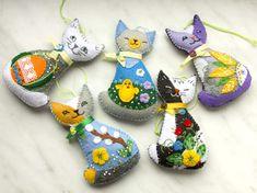 Wielkanocny kotek - zawieszka z filcu - Filcosie - Dekoracje wielkanocne