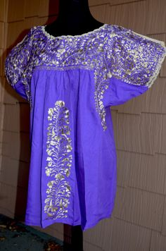 Mexican Gold Embroiderd Purple  Hippie Boho by Vtgantiques on Etsy, $89.00