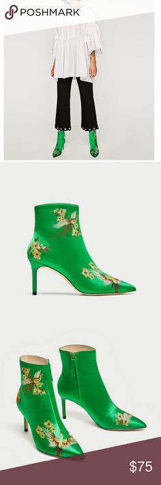 """Zara satin high heel ankle boots Green satin ankle boots with embroidered detailing in a combination of colors. They feature pointed toes, lined stiletto heels and side zip fastening. Heel height 3"""" Size EUR 37, USA 6.5 New with tags Zara Shoes Ankle Boots & Booties #stilettoheelsboots"""
