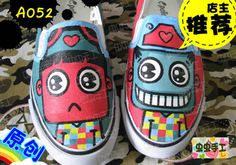 Strapless hand-painted shoes graffiti shoes canvas shoes female male - a052 $1272,33
