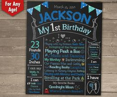 First Birthday Chalkboard Sign 1st Birthday by ChalkyPrints