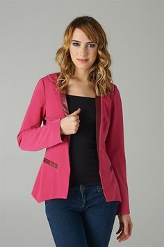 Fuchsia Long Sleeve Open Front Blazer Has A Faux Leather Accent Trim