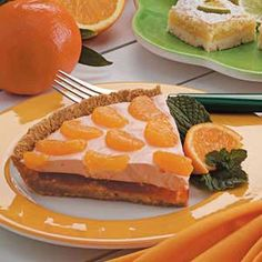 Mandarin Orange Cream Pie Recipe -Gusty Crum never heats up her Dover, Ohio kitchen when this heavenly sensation is on the menu. That's because the pie's delightful layers of orange gelatin, creamy whipped topping and mandarin oranges rely on the refrigerator instead of the oven.