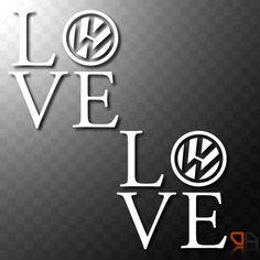2x VW LOVE - Vinyl decals stickers VW Transporter Camper Van DUB t4 t5 Euro VAG