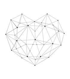 Geometric Heart Black and White Line Art Minimal by PeakPrintsSF