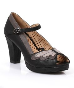 Black Aglais Peep-Toe Pump...a shoe with a butterfly!