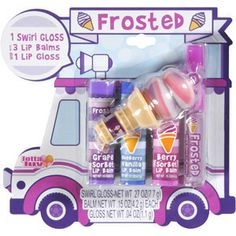 Frosted Ice Cream Truck Lip Gloss n Balm 5 Pieces Tutti Fruity, Grape Sorbet, Blueberry Vanilla, Berry  Sorbet, Very Berry