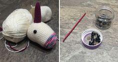 Crochet Equipment and Crochet Unicorn In Progress