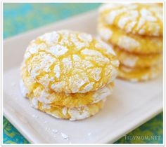 Lemon Cookies.  1 box lemon cake mix, 1 egg, 1 container of cool whip.   Dip in powdered sugar.  Bake 350 for 8 min.