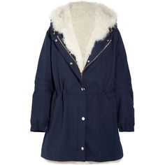 Sonia Rykiel Sonia Rykiel - Shearling-lined Wool-twill Parka - Blue (€2.295) ❤ liked on Polyvore featuring outerwear and coats