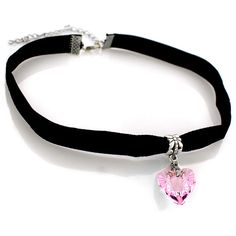 Heart Choker with Velvet Band ($5) ❤ liked on Polyvore featuring jewelry, necklaces, jewelry & watches, pink, pink jewelry, choker necklace, pink necklace, heart necklace and sparkly necklace
