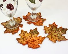 Autumn Leaves BATIK Coasters, Quilted Fall Coasters, Orange and Green Thanksgiving Decor, Wedding Table, Machine Embroidered Leaf by QuiltSewPieceful on Etsy