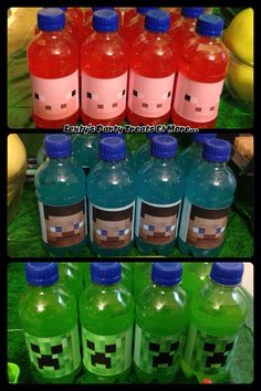 Minecraft Party Creeper, Steve and Pig Juice bottles