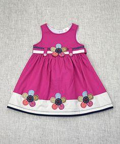 Loving this Fuchsia Floral Appliqué Dress - Toddler & Girls on #zulily! #zulilyfinds