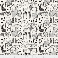 Friendly Woodland Creatures - Woodland Animals // Midnight By Buckwoodsdesignco - Woodsy Nursery Cotton Fabric By The Yard With Spoonflower Woodland Creatures, Woodland Animals, Woodsy Nursery, Animal Doodles, Art Graphique, Custom Fabric, Fabric Crafts, Sewing Crafts, Marker