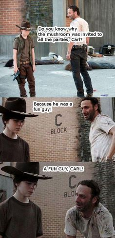 Terrible Rick Grimes Dad Jokes (It took me a second, but when I figured it out, I laughed hard.) #TheWalkingDead
