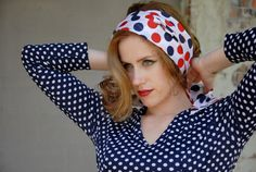 Polka-dot head scarf red white blue long wide by RoseleinRarities