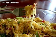 Angel Hair Salad made with spiral cut summer squash