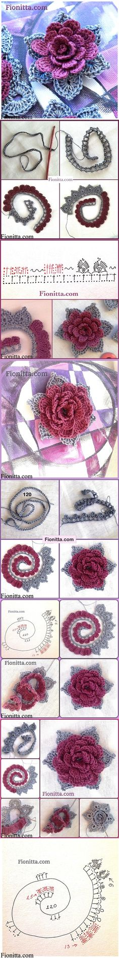 DIY Crochet Rose In 3 Ways - Betty - DIY Crochet Rose In 3 Ways These Crochet Flowers are pretty as a picture and perfect for adding to hats, brooches, hair clips, bags and so much more! Have you ever had a boring ja - Crochet Diy, Crochet Motifs, Crochet Flower Patterns, Love Crochet, Irish Crochet, Crochet Designs, Crochet Crafts, Crochet Stitches, Crochet Projects