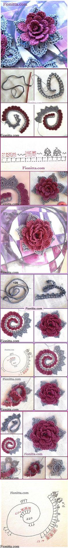 crochet rose ✭Teresa Restegui http://www.pinterest.com/teretegui/ ✭