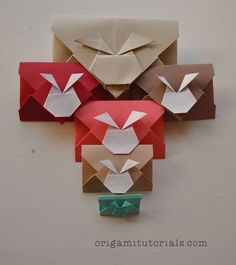 The Origami Bunny Rabbit Envelope by Keiji Kitamura is an easy origami project that can be made in 5 minutes or less. You only need one sheet of Kami or any other paper. Bunny Origami, Origami Mouse, Origami Yoda, Origami Star Box, Origami Envelope, Origami Dragon, Origami Fish, Origami Stars, Oragami