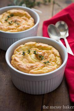 Herb & Cheese Potato Soufflés: Light, fluffy potato soufflés made with fresh herbs and Swiss cheese.