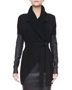 Belted Leather-Sleeve Cardigan by Donna Karan at Bergdorf Goodman.