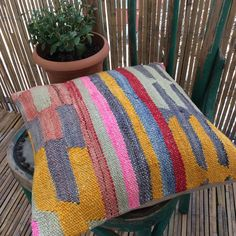 Blue Kilim Pillow cover with Stripes Kilim Pillows, Kilim Rugs, Crochet Instructions, Decorative Pillow Covers, Print Patterns, Hand Weaving, Stripes, Beige, Pure Products