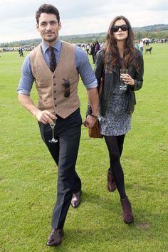 Brown Leather Oxford Shoes — Black Dress Pants — White and Blue Vertical Striped Dress Shirt — Tan Wool Waistcoat — Dark Brown Polka Dot Tie