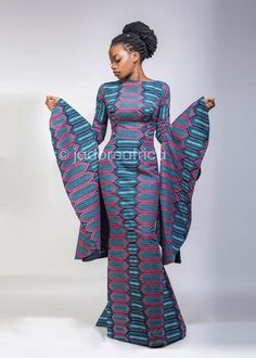 This item is unavailable African print gown with large trumpet sleeves / African mermaid dress / African clothing / Ankara dress / African dress / African dresses African Prom Dresses, African Dresses For Women, African Attire, African Wear, African Fashion Dresses, Fashion Outfits, African Style, Fashion Styles, African Dress Designs